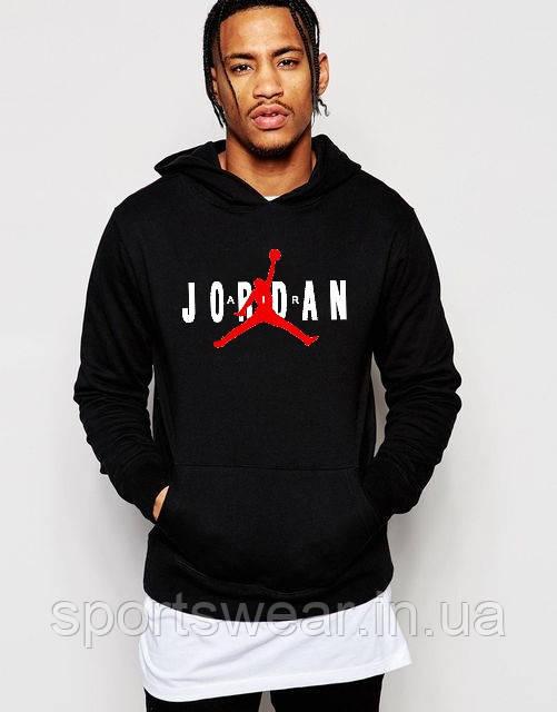 Худи Jordan ( Джордан ) | Мужская толстовка | Кенгурушка чёрная, красный Джордан