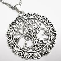"""Славянский оберег """"Дерево жизни"""" (50х47мм) на цепочке под серебро."""