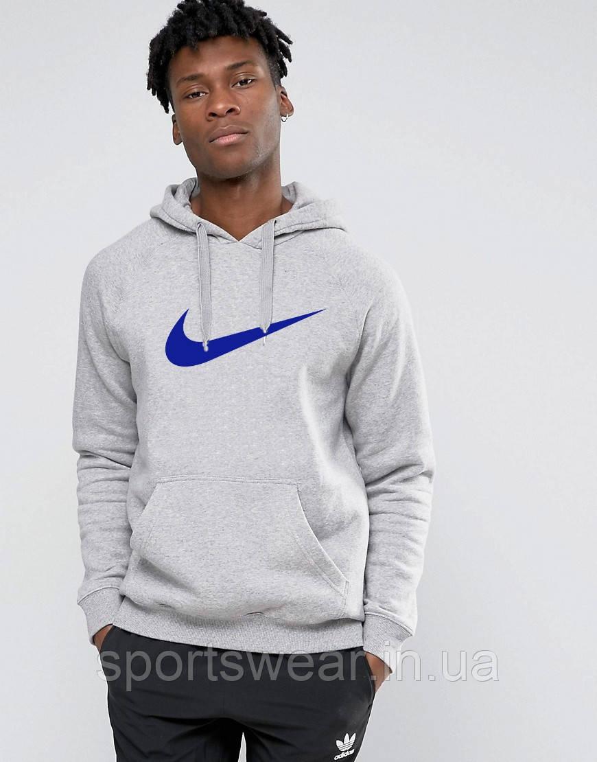 Худи Nike ( Найк ) | Мужская толстовка | Кенгурушка серая, синий принт