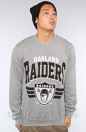 """Світшот сірий чоловічий Oakland Raiders Рэйдерс   Кофта """""""" ТОП Репліка """""""""""