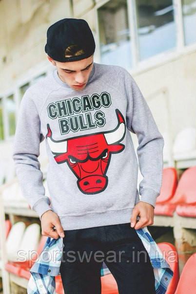 Свитшот серый мужской Chicago Bulls Чикаго | Кофта