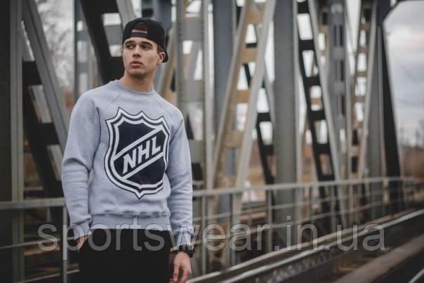 Свитшот серый мужской Щит NHL National Hockey League | Кофта