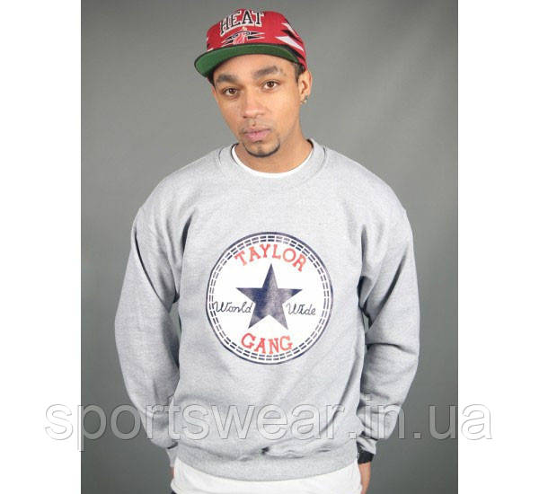 Свитшот серый мужской Wiz Khalifa Taylor Gang Chuck Taylor | Кофта