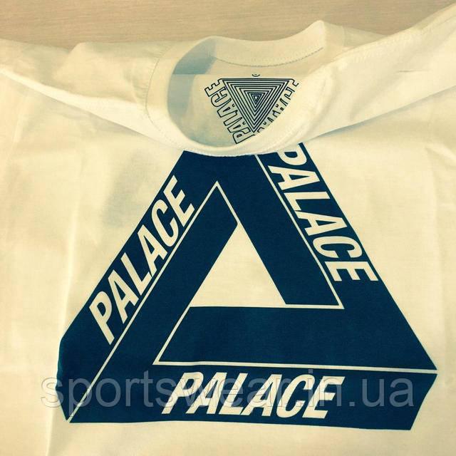 Футболка PALACE мужская белая   БИРКИ  Футболка Палас ( Темно-синий логотип )