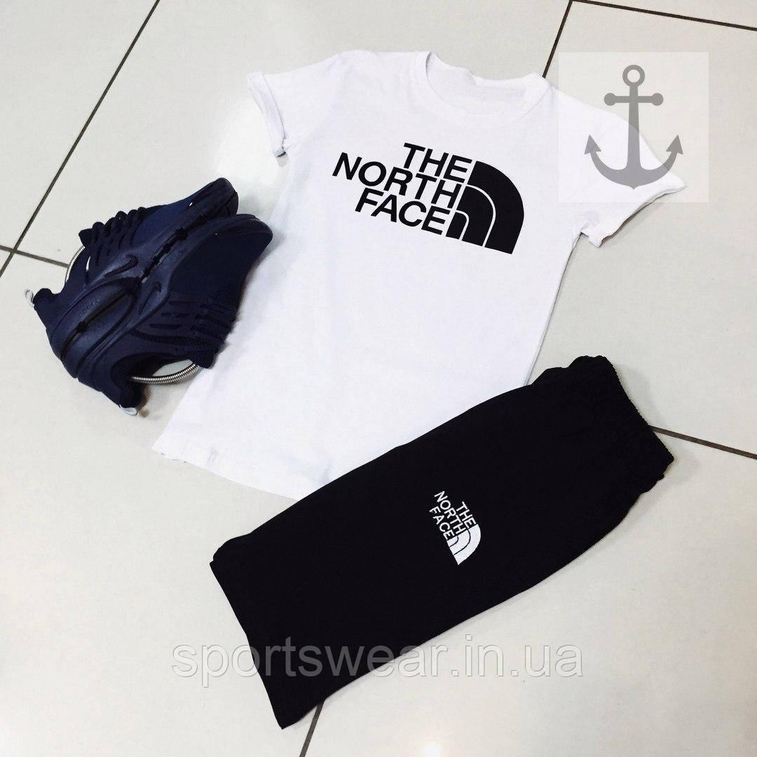 """Чоловічий комплект футболка + шорти the north face сірого і синього кольору """""""" В стилі The North Face """""""""""