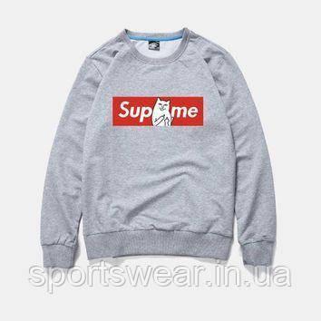 Свитшот Supreme + Ripndip серый с логотипом,унисекс (мужской,женский,детский)
