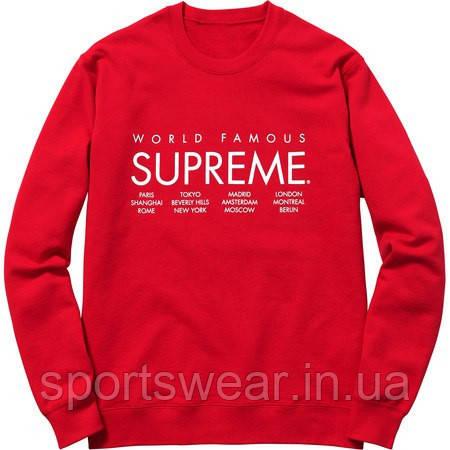 Свитшот Supreme красный с белым логотипом,унисекс (мужской,женский,детский)