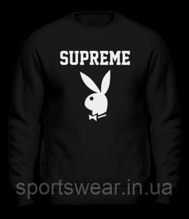 Свитшот Supreme Playboy черный с белым логотипом,унисекс (мужской,женский,детский)