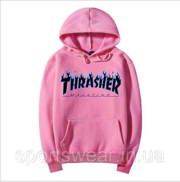 Толстовка Thrasher Flame Logo | розовая | Толстовка Трешер