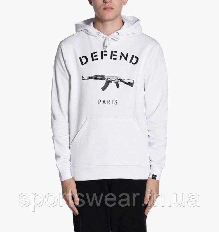 """Толстовка Мужская Defend Paris white    Худи Defend мужская ( Мужская, Женская, Детская ) """""""" В стиле Defend"""