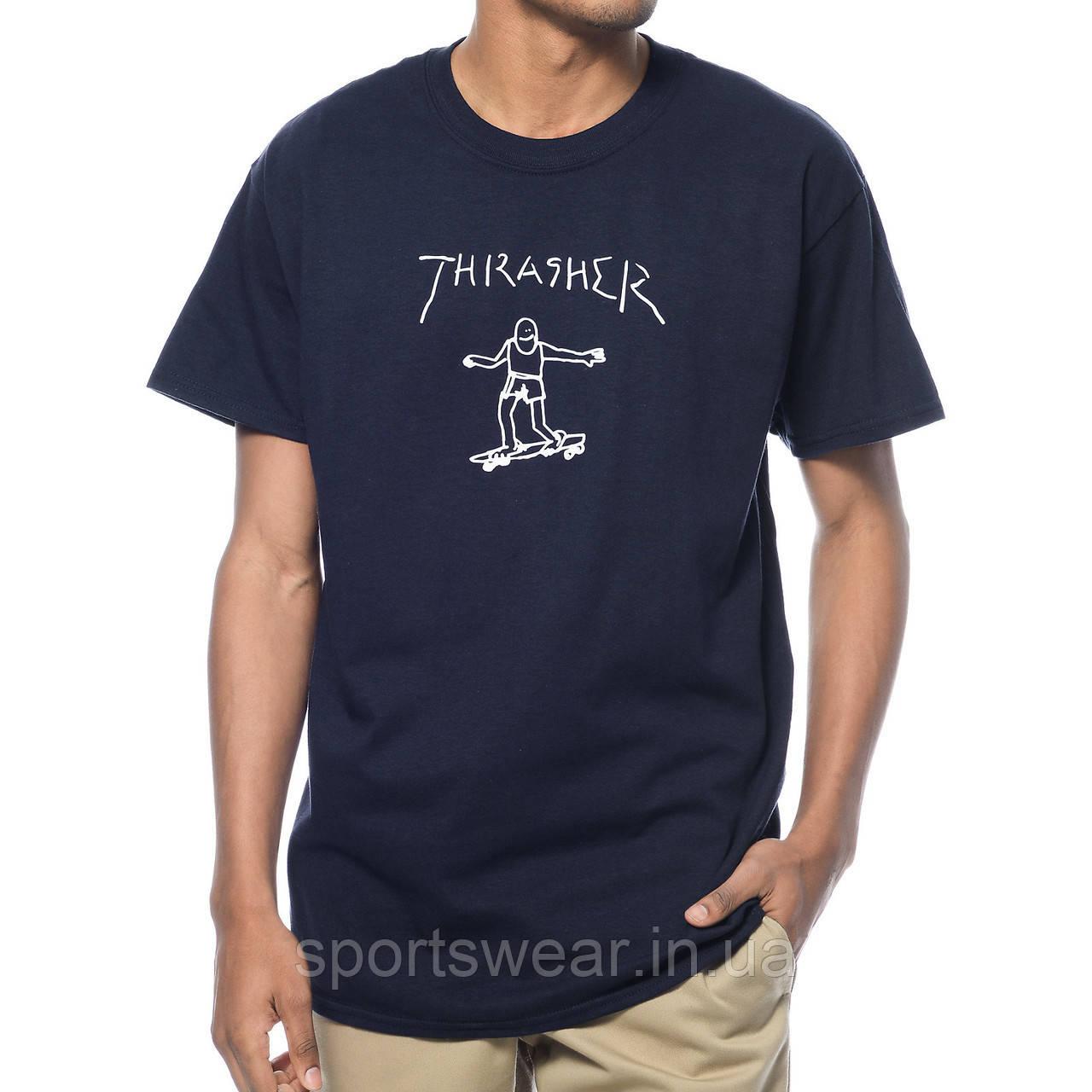 Футболка стильная Thrasher Gonz мужская | Трешер Футболка ( ТЕмно- Синяя )