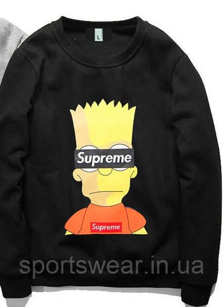 Свитшоты Supreme Bart Simpson черный,серый,унисекс (мужской,женский,детский)