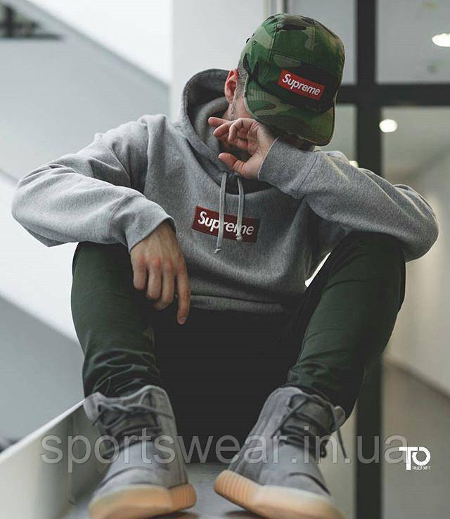 Supreme худи мужской | Кегнгуру Суприм, серый