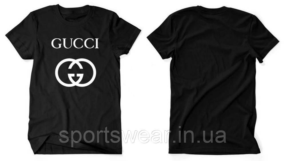 Футболка Gucci черная с белым логотипом, унисекс (мужская,женская,детская)
