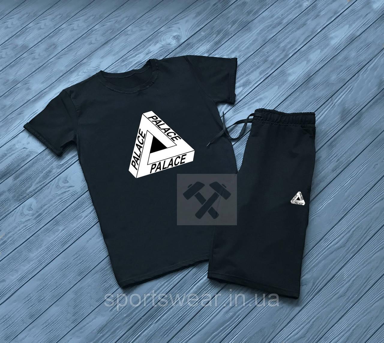 Мужской комплект футболка + шорты Palace черного цвета