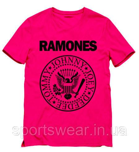 Мужская розовая Футболка RAMONES Рамонес