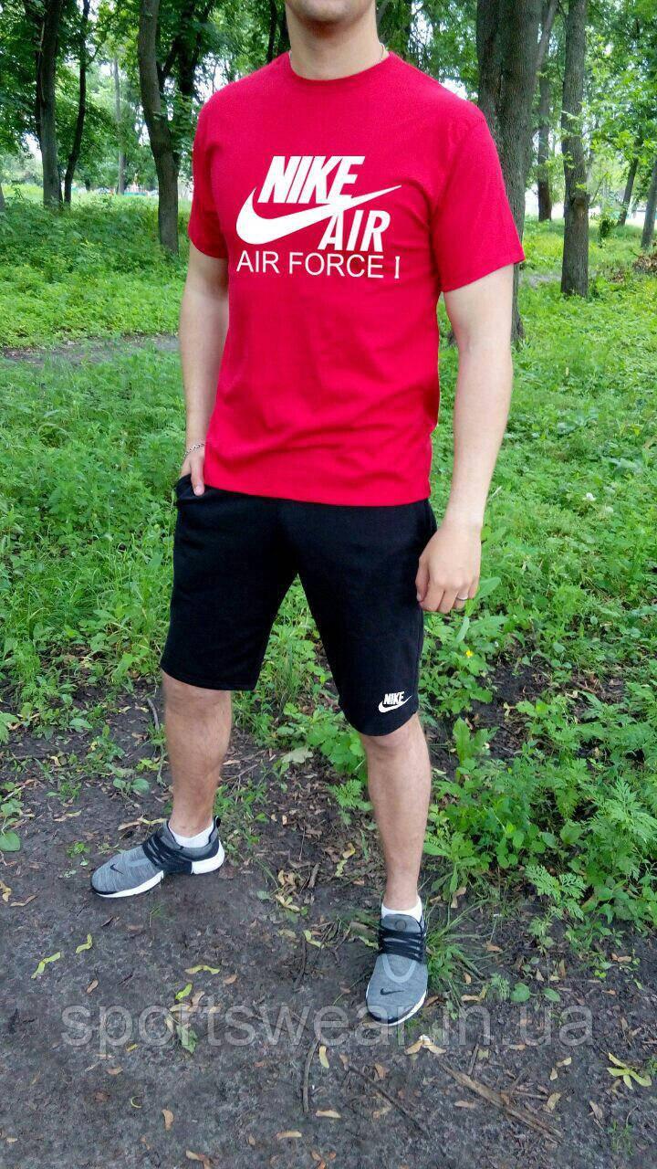 Мужской комплект футболка + шорты Nike красного и черного цвета
