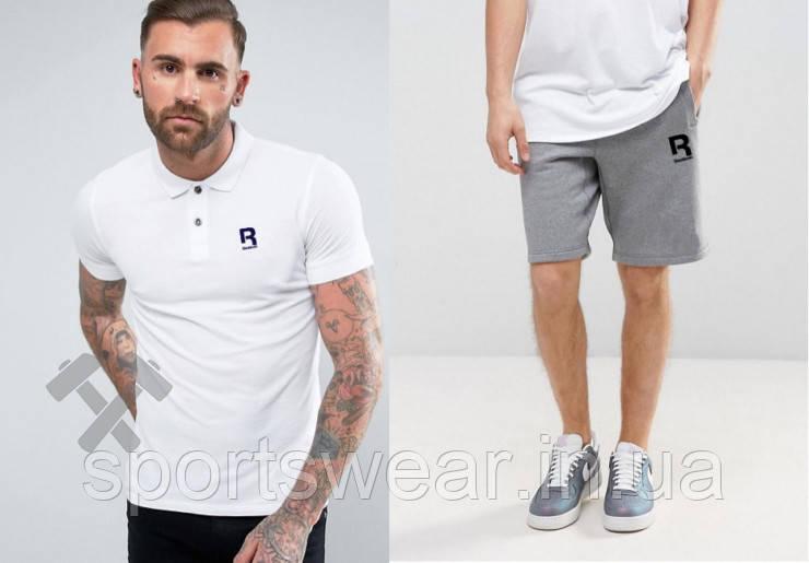 Мужской комплект поло + шорты Reebok белого и серого цвета