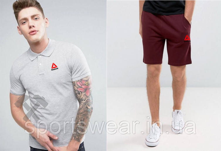 Мужской комплект поло + шорты Reebok серого и красного цвета