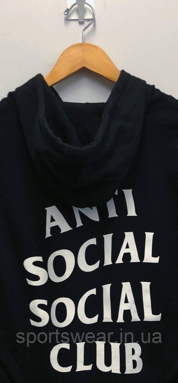 Худи Anti social social club (A.S.S.C) черное с белым логотипом, унисекс