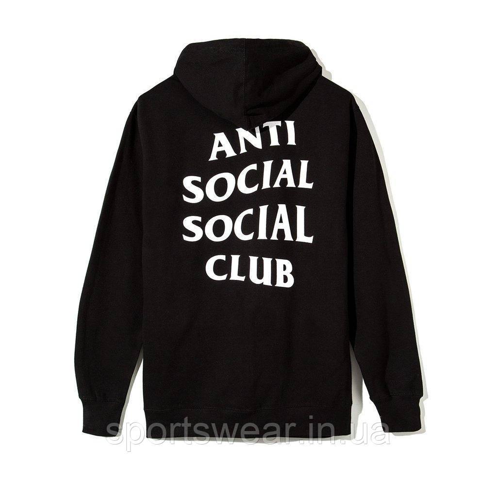 Худи Anti social social club (A.S.S.C) ZIP на замке-молнии черное, унисекс