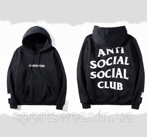 Худи Anti social social club ? Paranoid Undefeated черное с белым лого, унисекс