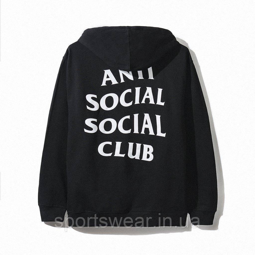 Худи Anti social social club (A.S.S.C) / Viceland черное с логотипом, унисекс