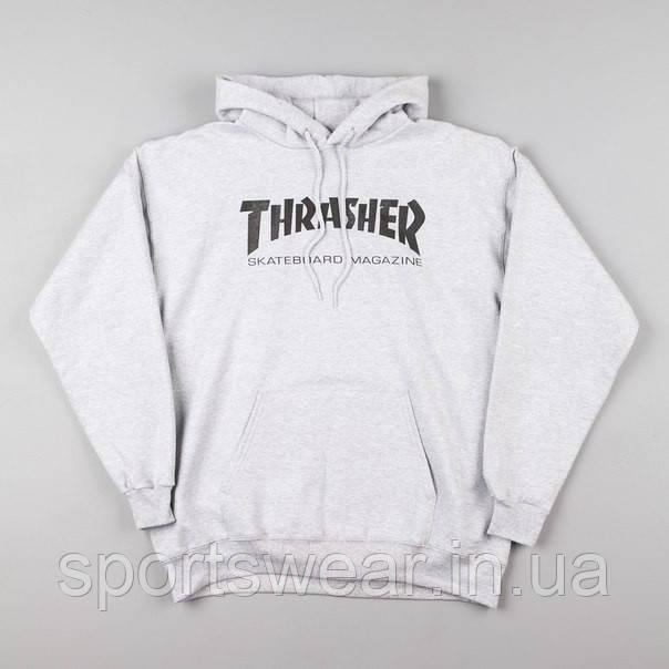 Худи Thrasher серое с логотипом, унисекс