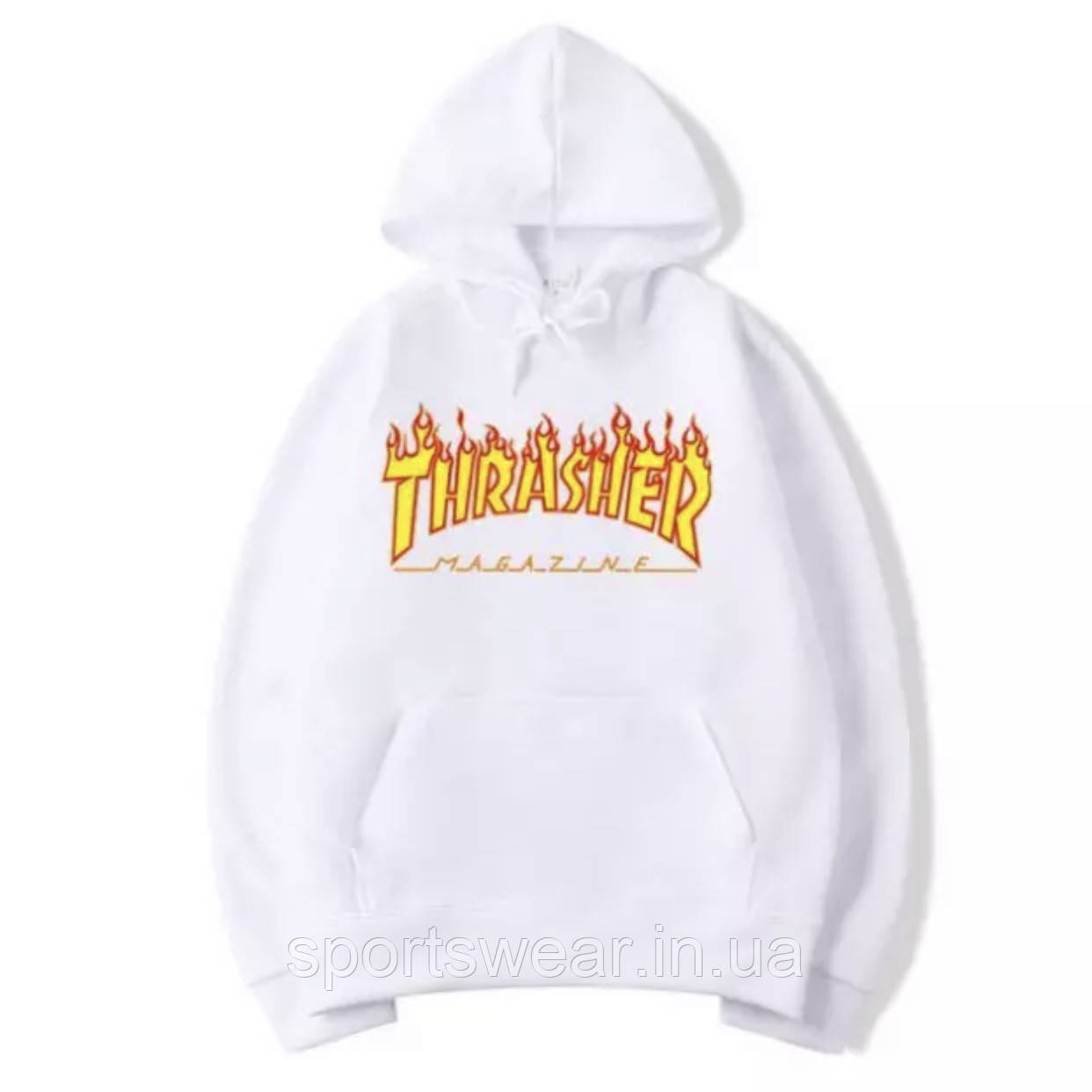 Худи Thrasher Flame белое с логотипом, унисекс