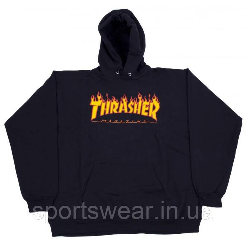 Худи Thrasher Flame черное с лого, унисекс