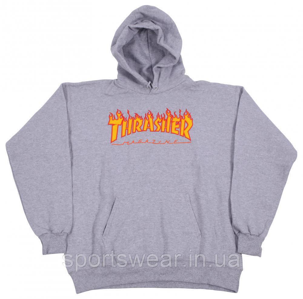 Худи Thrasher Flame серое с лого, унисекс