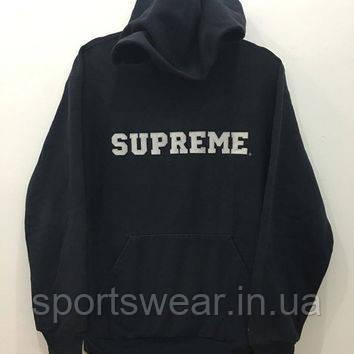 Худи Supreme черное с белым логотипом, унисекс