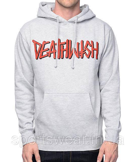 Худи Deathwish серое с логотипом, унисекс