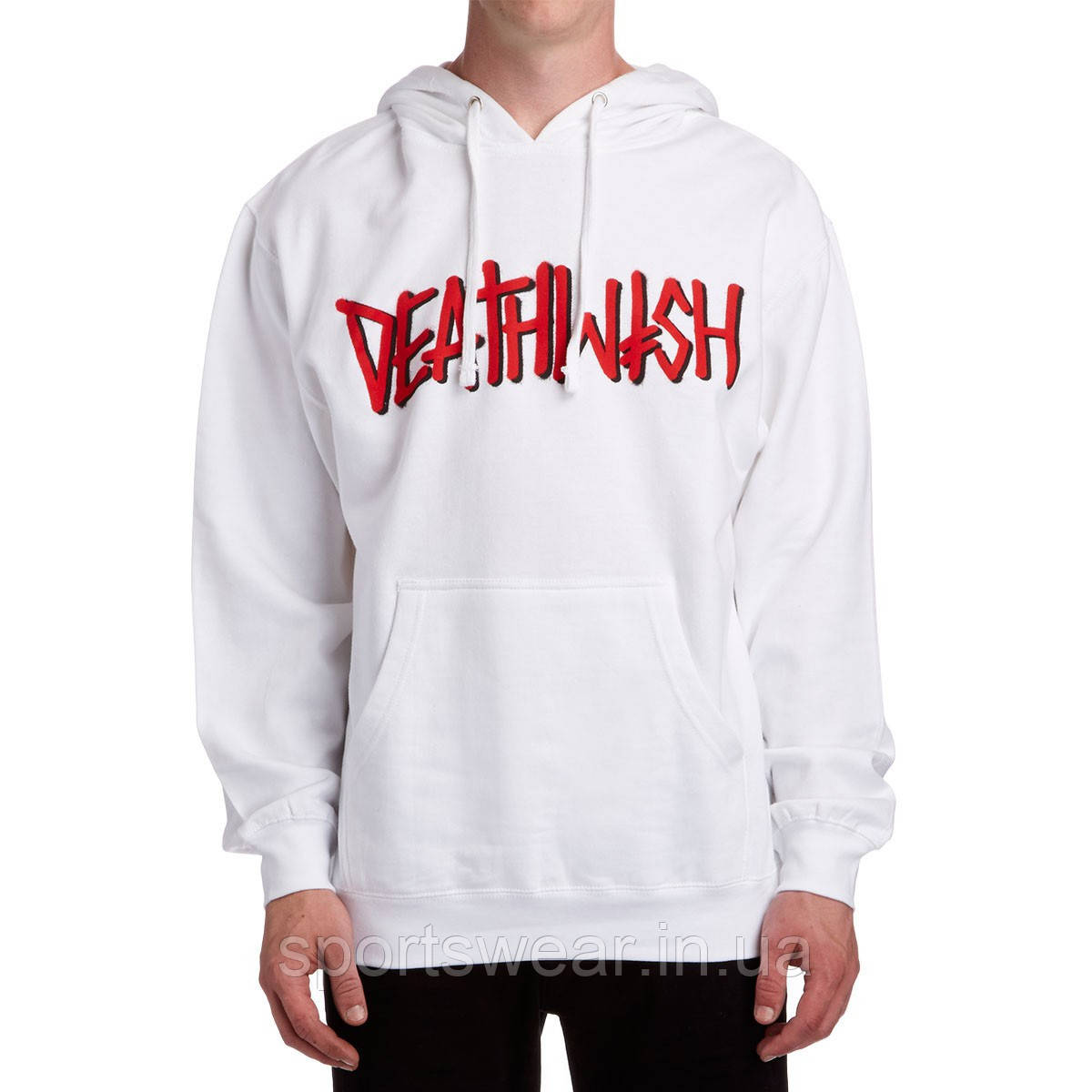 Худи Deathwish белое с логотипом, унисекс