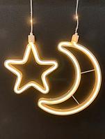 Светодиодная новогодняя гирлянда штора 3х0.7м, луна 5+ 4звезды, теплый белый, фото 1