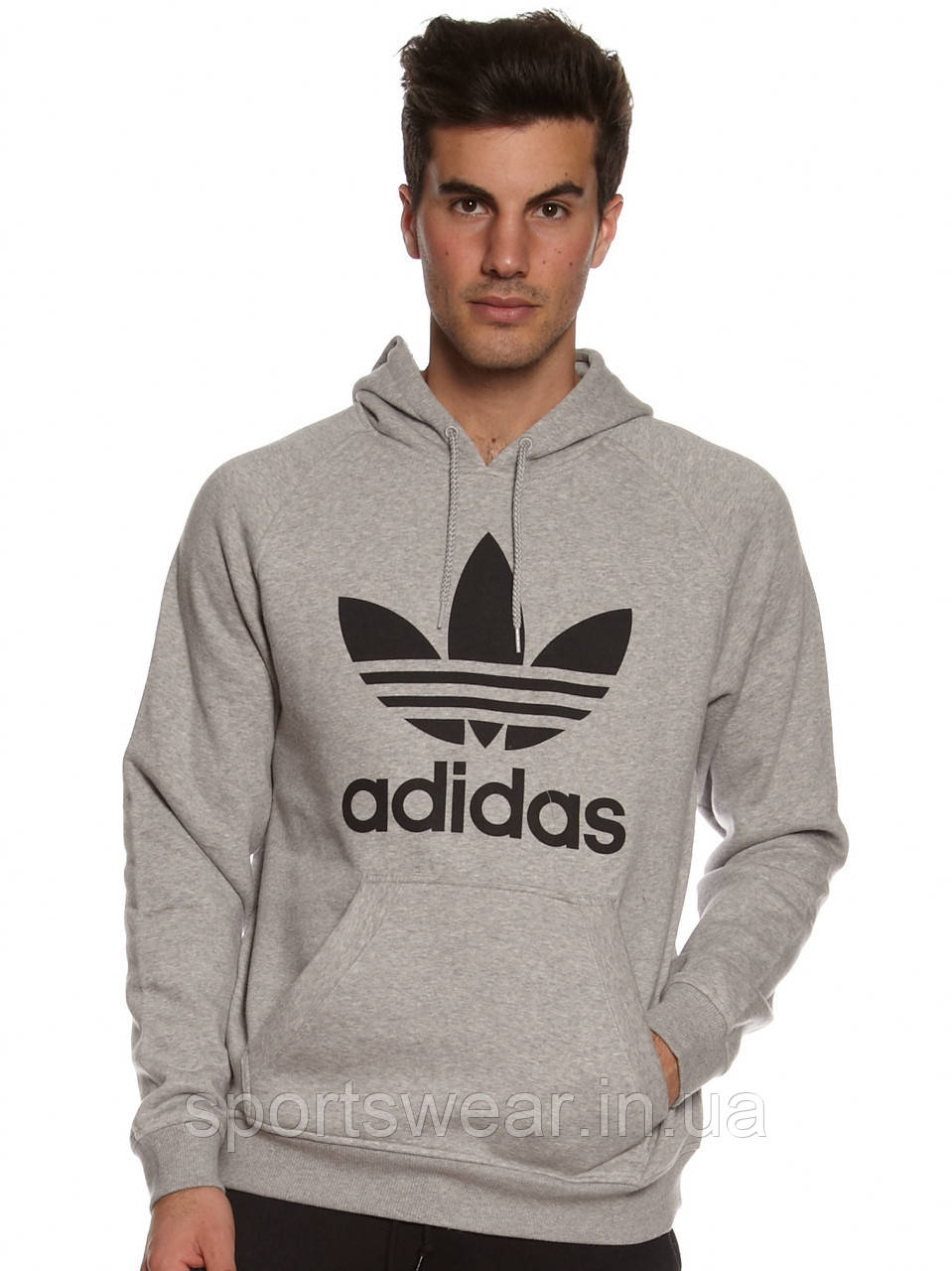 Худи Adidas Old School серое с черным логотипом, унисекс