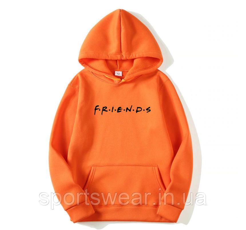 Худи Friends (друзья, друзi) оранжевое с черным логотипом, унисекс