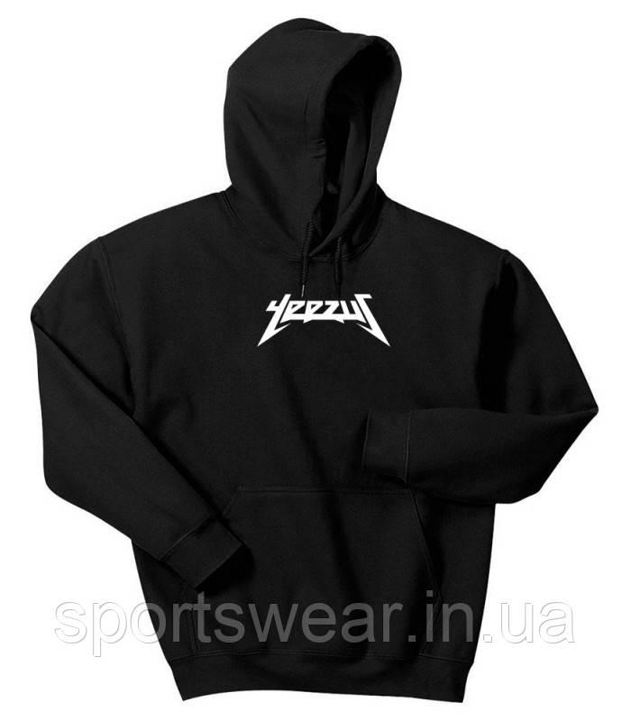 Худи Yeezus черное с белым логотипом, унисекс