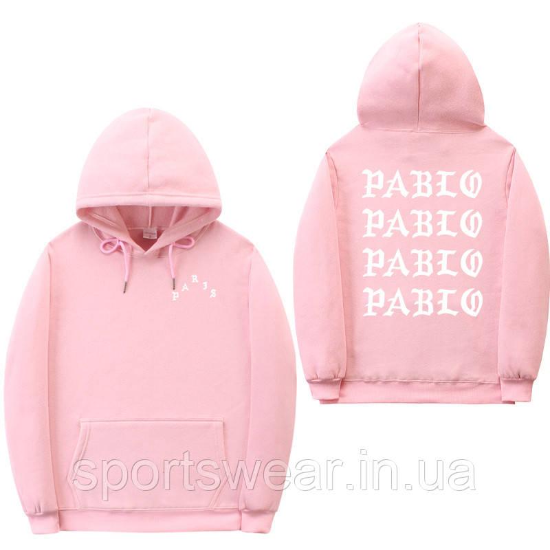Худи Kanye West - I Feel Like Pablo Paris розовое с логотипом, унисекс