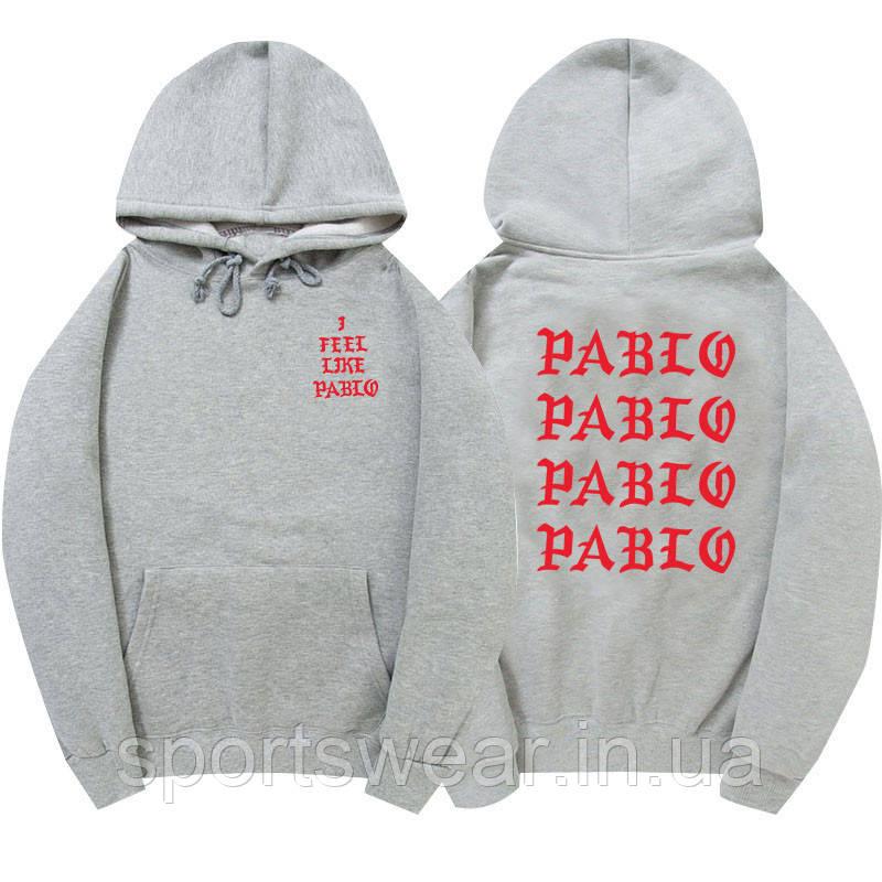 Худи Kanye West - I Feel Like Pablo серое с логотипом, унисекс