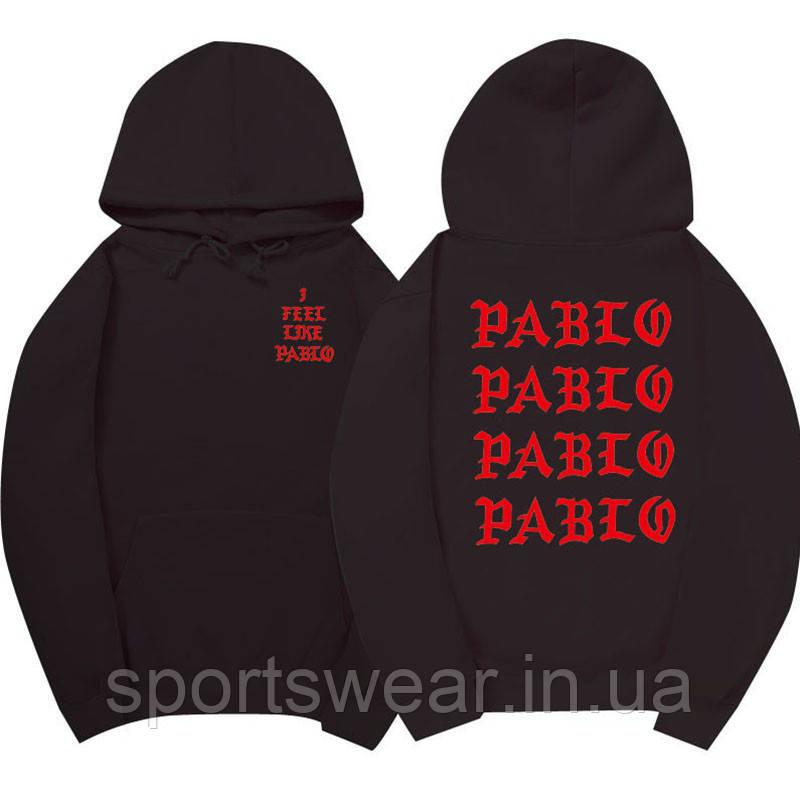 Худі Kanye West - I Feel Like Pablo чорне з червоним лого, унісекс (чоловіче, жіноче, дитяче)