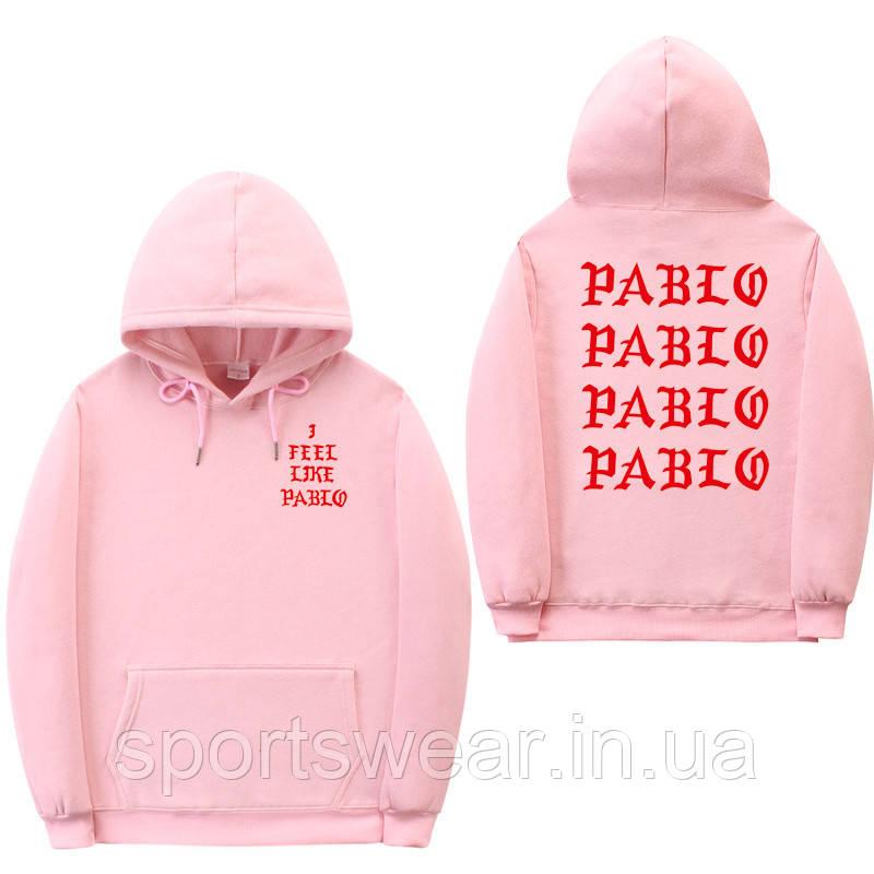 Худи Kanye West - I Feel Like Pablo розовое с логотипом, унисекс