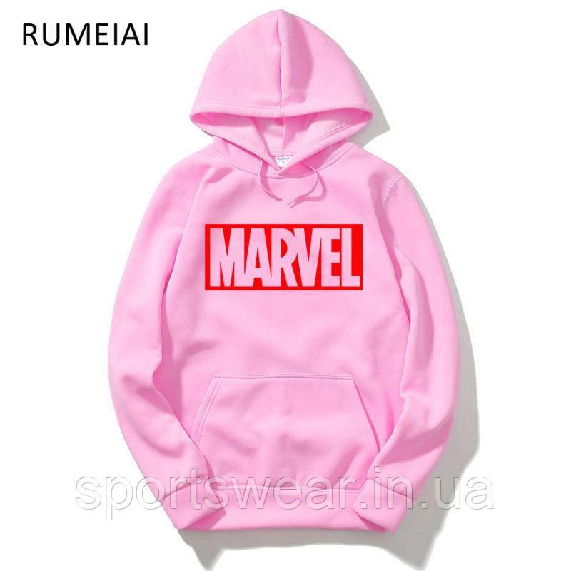 Худи Marvel розовое с лого, унисекс
