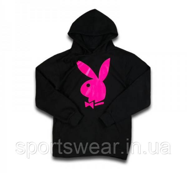 Худи Playboy / Pink черное с логотипом, унисекс