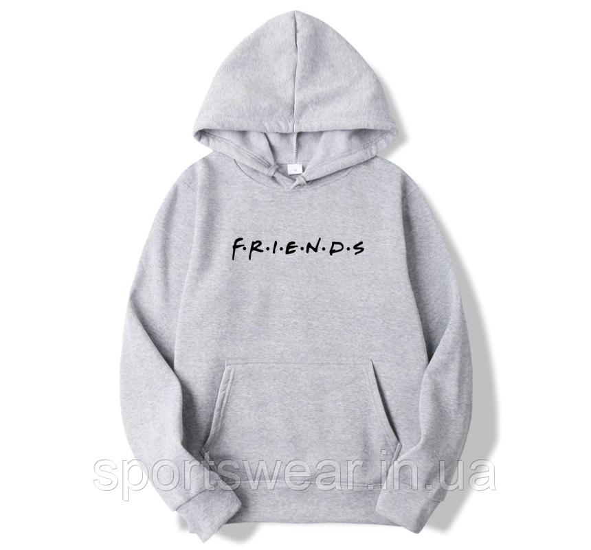 Худи Friends (друзья, друзi) серое с черным логотипом, унисекс