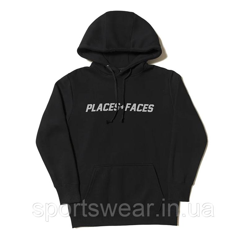 Худі Places+Faces 2019 чорне з сірим логотипом, унісекс (чоловіче, жіноче, дитяче)