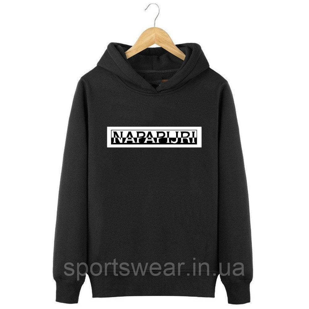 Худи Napapijri черное с логотипом, унисекс