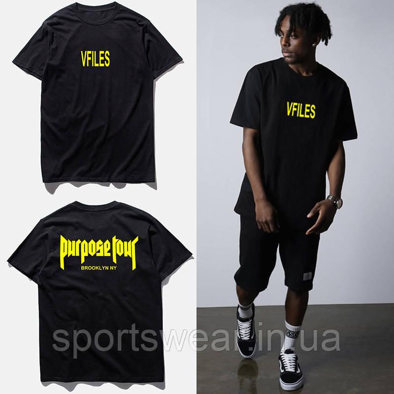 Футболка Purpose Tour VFiles черная с логотипом мужская, женская, детская