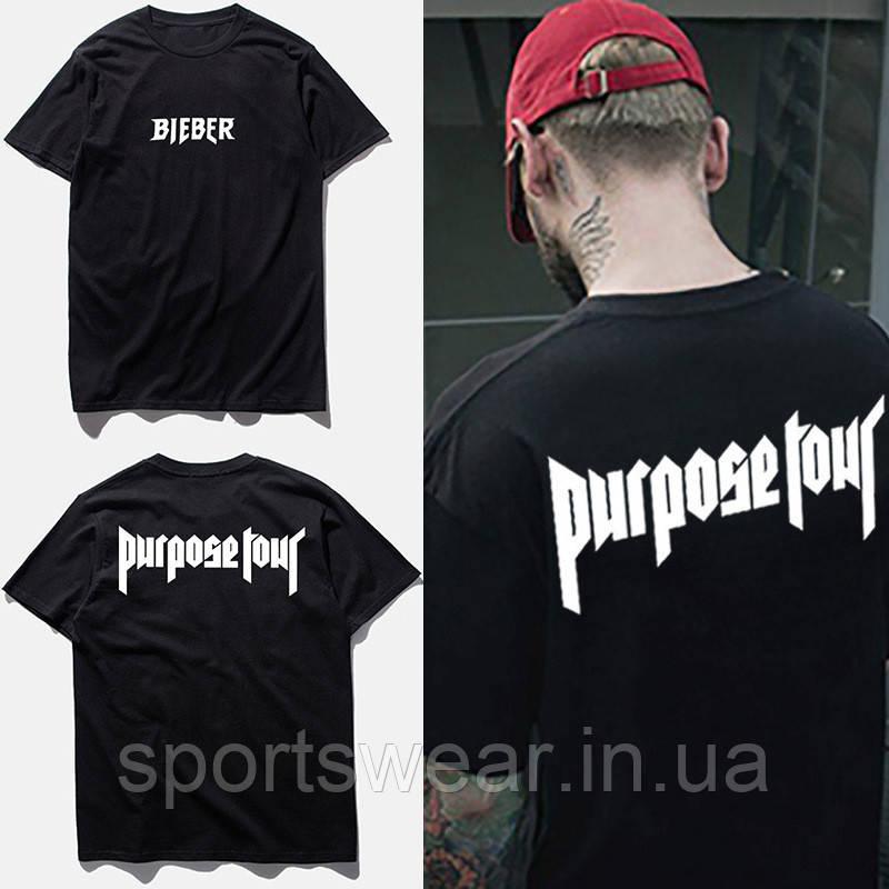 Футболка Purpose Tour Bieber черная с логотипом мужская, женская, детская