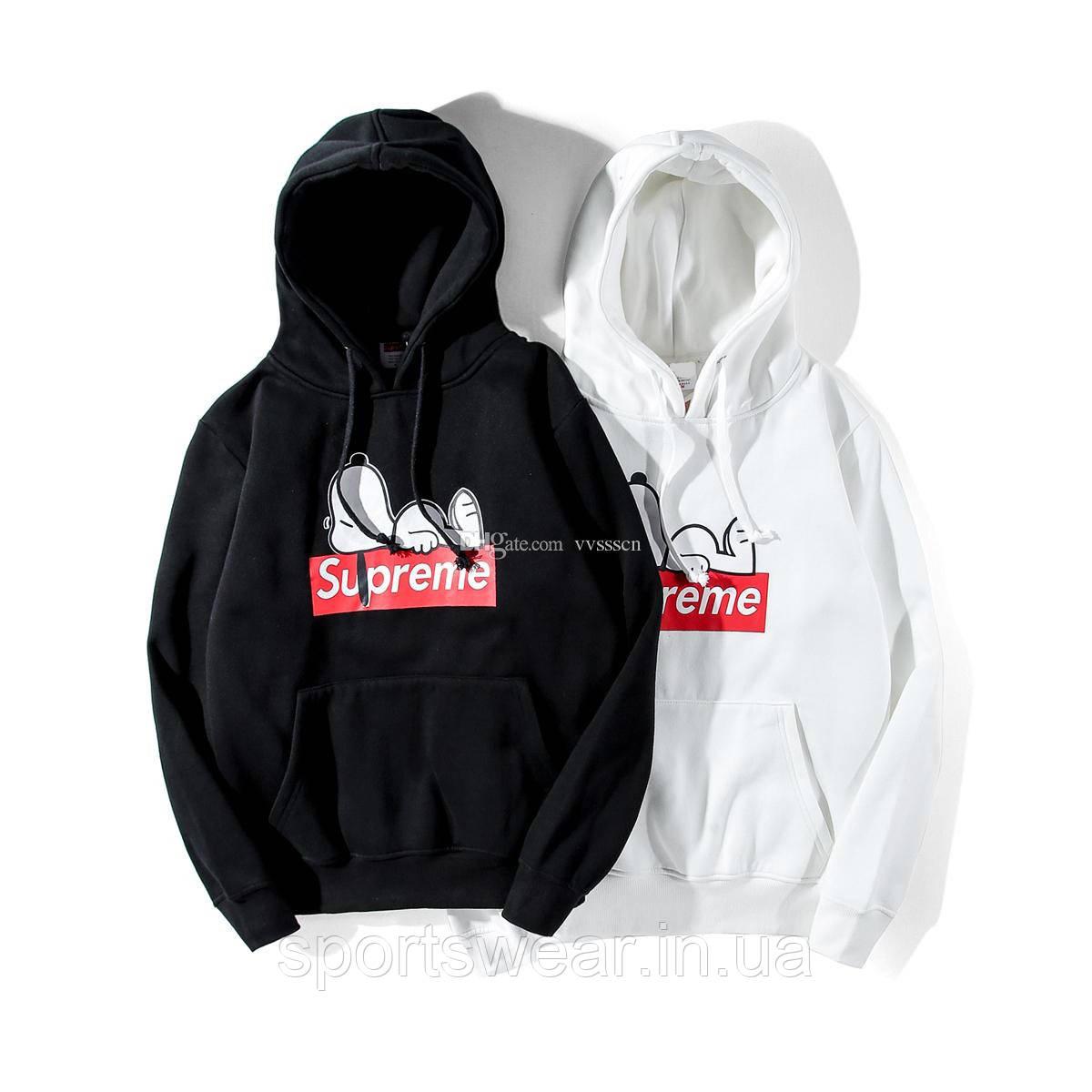Худи Supreme Pepi белое, чёрное с логотипом, унисекс